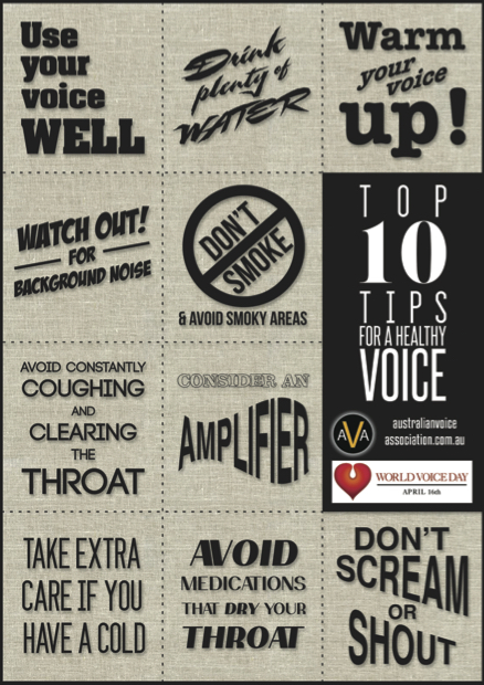 australian voice assocation top 10 tips for a healthy voice